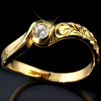 ピンキーリング ハワイアンジュエリー ハワイアン ダイヤモンド リング 指輪 イエローゴールドk18 ハワイアンリング 18金 k18yg ダイヤ ストレート