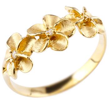 ハワイアンジュエリー ピンキーリング ハワイアン ダイヤモンド リング 指輪 イエローゴールドk18 花 ハワイアンリング 18金 k18yg ダイヤ ストレート 送料無料