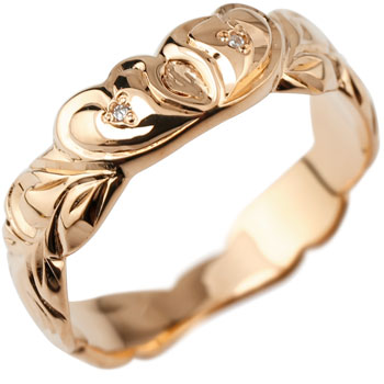 ピンキーリング ハワイアンジュエリー ハワイアン ハート リング ダイヤモンド 指輪 ピンクゴールドk18 ハワイアンリング 18金 k18pg ダイヤ ストレート 妻 嫁 奥さん 女性 彼女 娘 母 祖母 パートナー 送料無料