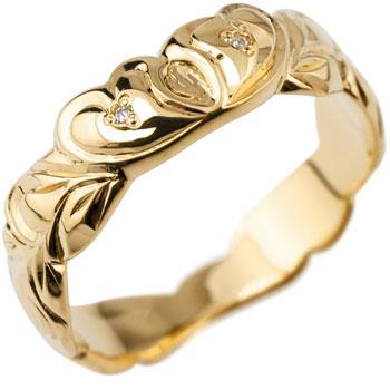 ピンキーリング ハワイアンジュエリー ハワイアン ハート リング ダイヤモンド 指輪 イエローゴールドk18 ハワイアンリング 18金 k18yg ダイヤ ストレート 妻 嫁 奥さん 女性 彼女 娘 母 祖母 パートナー 送料無料
