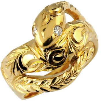 ピンキーリング ハワイアンジュエリー 蛇 リング ダイヤモンド ダイヤ スネーク 指輪 イエローゴールドk18 レディース ハワイアンリング 18金 k18yg 妻 嫁 奥さん 女性 彼女 娘 母 祖母 パートナー 送料無料