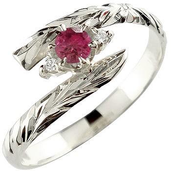 ピンキーリング ハワイアンジュエリー リング ルビー 指輪 ハワイアンリング シルバー 7月誕生石 sv925 ストレート 宝石