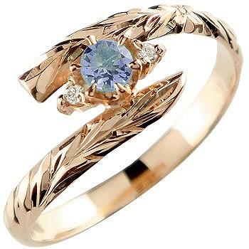 ピンキーリング ハワイアンジュエリー リング アイオライト ピンクゴールドk18 指輪 ハワイアンリング 18金 k18pg ストレート 宝石
