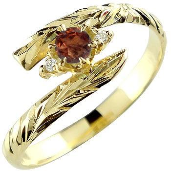 ピンキーリング ハワイアンジュエリー リング ガーネット イエローゴールドk18 指輪 ハワイアンリング 1月誕生石 18金 k18 ストレート 宝石