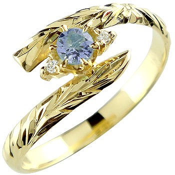 ピンキーリング ハワイアンジュエリー リング アイオライト イエローゴールドk18 指輪 ハワイアンリング 18金 k18 ストレート 宝石
