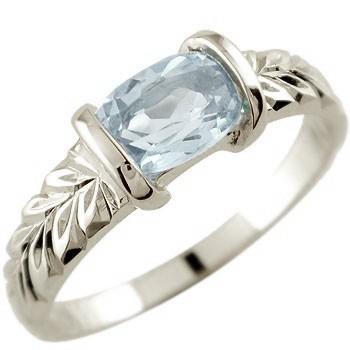 ピンキーリング ハワイアンジュエリー アクアマリン リング 指輪 ホワイトゴールドk18 18金 ストレート 宝石