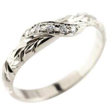 ハワイアンジュエリー ピンキーリング ダイヤモンド ホワイトゴールドk10 リング 指輪 ハワイアンリング ダイヤ k10 10金 妻 嫁 奥さん 女性 彼女 娘 母 祖母 パートナー