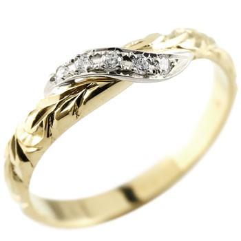 ハワイアンジュエリー ピンキーリング ダイヤモンド プラチナ リング イエローゴールドk10 指輪 ハワイアンリング ダイヤ 10金