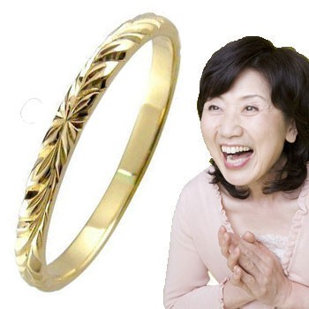 ハワイアンジュエリー ハワイアンリング 指輪 k18 イエローゴールド ハワイ 18金 ばぁばリング お誕生日 敬老の日 長寿のお祝い ストレート 2.3 妻 嫁 奥さん 女性 彼女 娘 母 祖母 パートナー