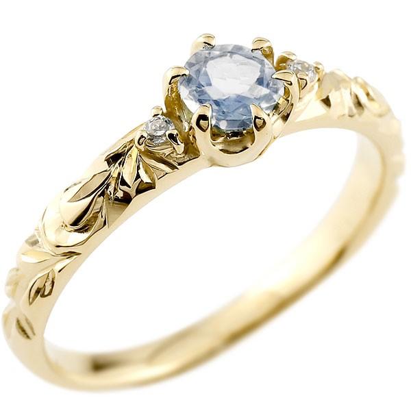 ハワイアンジュエリー ブルームーンストーン リング 一粒 大粒 指輪 6月誕生石 イエローゴールドk18 ハワイアンリング 18金 k18yg ダイヤ ストレート 宝石
