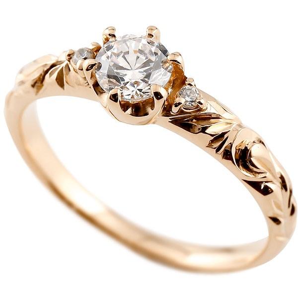 ピンキーリング ダイヤモンド 一粒 リング ハワイアンジュエリー リング 大粒 ピンクゴールドk18 ハワイアンリング 18金 k18pg ダイヤ ストレート