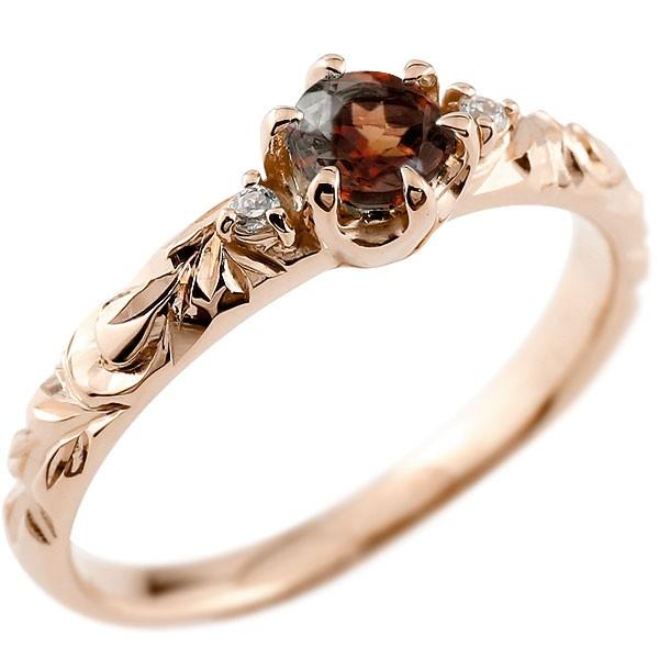 ピンキーリング ハワイアンジュエリー ガーネット リング 一粒 大粒 指輪 1月誕生石 ピンクゴールドk18 ハワイアンリング 18金 k18pg ダイヤ ストレート 宝石