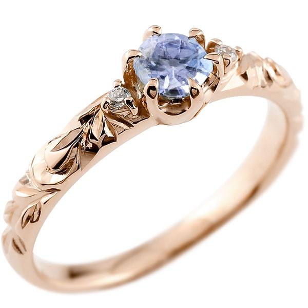 ピンキーリング ハワイアンジュエリー タンザナイト リング 一粒 大粒 指輪 12月誕生石 ピンクゴールドk10 ハワイアンリング 10金 k10pg ダイヤ ストレート