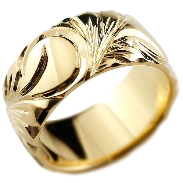 ハワイアンジュエリー イエローゴールドk18 リング 幅広 指輪 ハワイアンリング 地金リング マイレ スクロール レディース ストレート 妻 嫁 奥さん 女性 彼女 娘 母 祖母 パートナー 送料無料