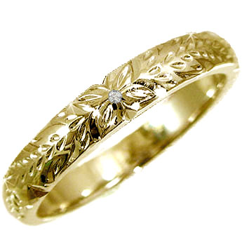 ピンキーリング ハワイアンジュエリー ダイヤモンド ハワイアンリング 指輪 k10 イエローゴールド 一粒 10金 ダイヤ ストレート 宝石