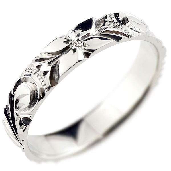 ピンキーリング ハワイアンジュエリー ダイヤモンド ハワイアンリング 指輪 プラチナリング ハワイ 一粒 pt900 ダイヤ ストレート 妻 嫁 奥さん 女性 彼女 娘 母 祖母 パートナー