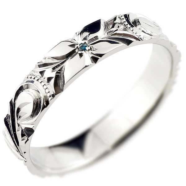 ピンキーリング ハワイアンジュエリー ブルーダイヤモンド ハワイアンリング 指輪 プラチナリング 一粒 ハワイ pt900 ダイヤ ストレート 妻 嫁 奥さん 女性 彼女 娘 母 祖母 パートナー