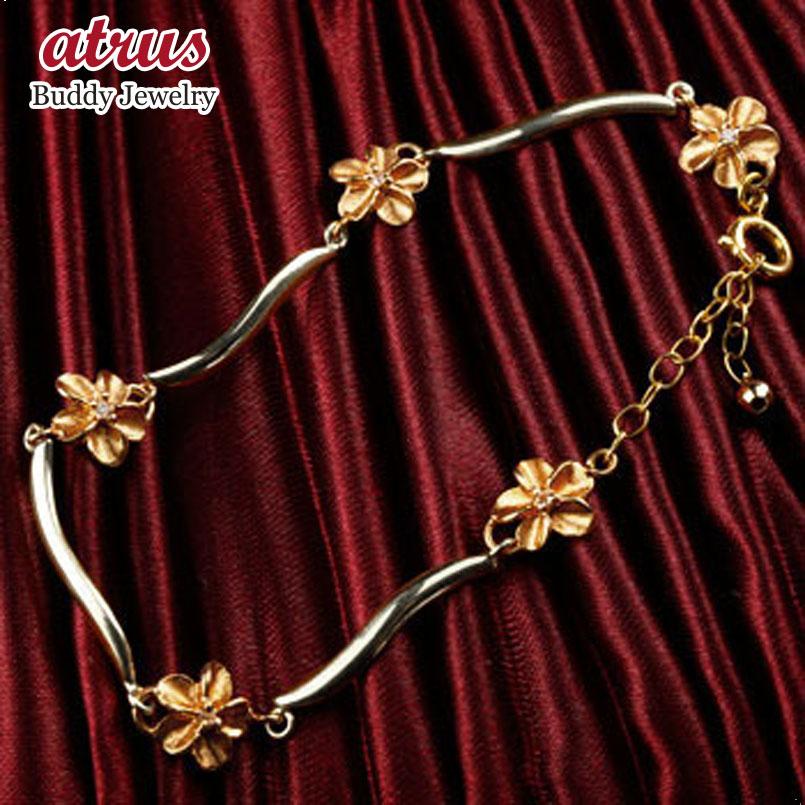 ハワイアンジュエリー ハワイアン ダイヤモンド ブレスレット 花 フラワー ピンクゴールドk18 プラチナ 18金 pt900 k18pg ダイヤ アクセサリー レディース 贈り物 誕生日プレゼント ギフト ファッション お返し