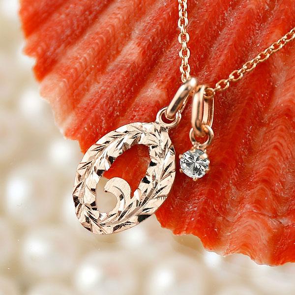 メンズ ハワイアンジュエリー 数字 0 ダイヤモンド ネックレス ペンダント ピンクゴールドk18 ナンバー チェーン 人気 4月誕生石 18金 18k