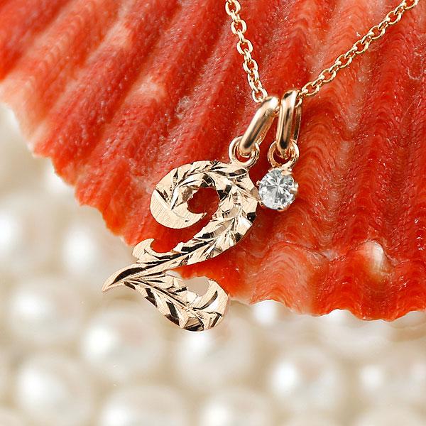 メンズ ハワイアンジュエリー 数字 2 ダイヤモンド ネックレス ペンダント ピンクゴールドk10 ナンバー チェーン 人気 4月誕生石 10金