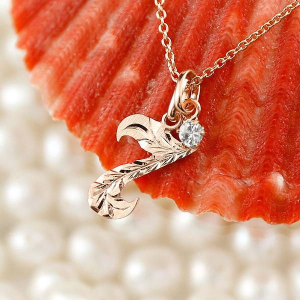 メンズ ハワイアンジュエリー 数字 7 ダイヤモンド ネックレス ペンダント ピンクゴールドk18 ナンバー チェーン 人気 4月誕生石 18金 18k