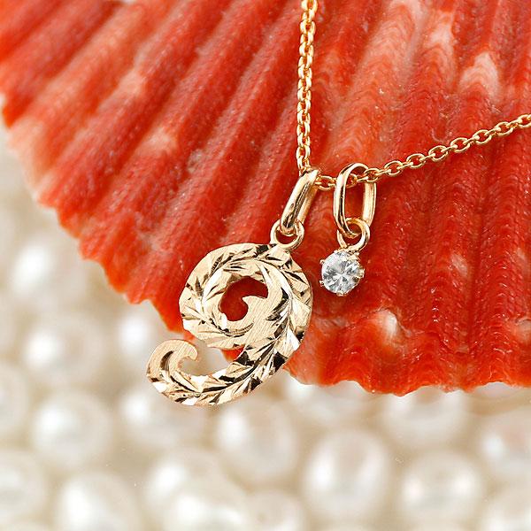 メンズ ハワイアンジュエリー 数字 9 ダイヤモンド ネックレス ペンダント ピンクゴールドk10 ナンバー チェーン 人気 4月誕生石 10金 送料無料