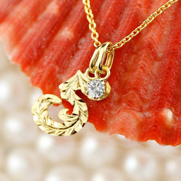 メンズ ハワイアンジュエリー 数字 5 ダイヤモンド ネックレス ペンダント イエローゴールドk10 ナンバー チェーン 人気 4月誕生石 10金