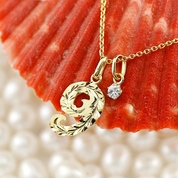 メンズ ハワイアンジュエリー 数字 9 ダイヤモンド ネックレス ペンダント イエローゴールドk10 ナンバー チェーン 人気 4月誕生石 10金