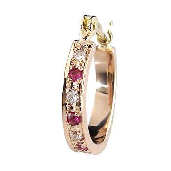 18金 ピアス フープピアス ダイヤモンド ピアス 片耳 ルビーピアス スタッド ピンクゴールドk18 ダイヤ 18金 贈り物 誕生日プレゼント ギフト ファッション