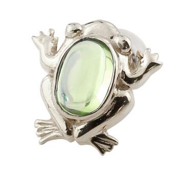 片耳ピアス カエル プラチナ ピアス ペリドット 蛙 スタッドピアス 8月誕生石 贈り物 誕生日プレゼント ギフト ファッション
