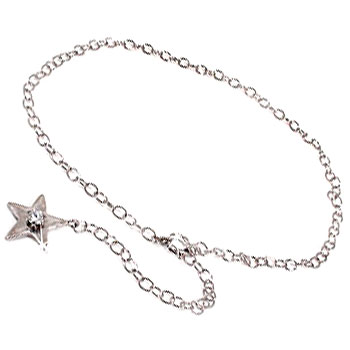 メンズ ダイヤモンド ブレスレット スター 星 ダイヤモンド 0.10ct プラチナ850 PT850 一粒 チェーン ダイヤ 男性用 宝石 送料無料