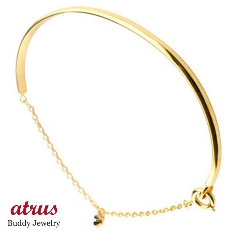 メンズ ガーネット ブレスレット 一粒 イエローゴールドk18 18金 シンプル 1月誕生石 宝石 送料無料