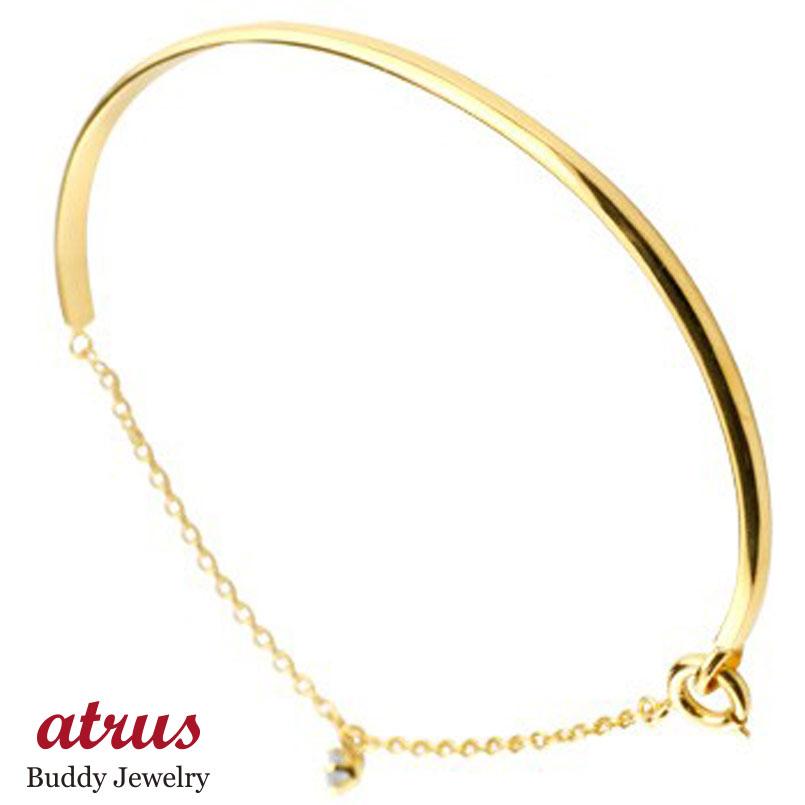 メンズ アクアマリン ブレスレット 一粒 イエローゴールドk18 18金 シンプル 3月誕生石 宝石 送料無料