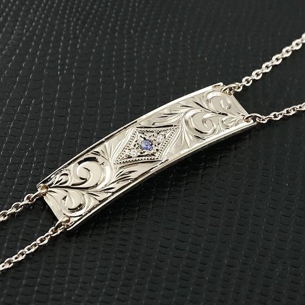 ハワイアンジュエリー メンズ ブレスレット プレート アイオライト シルバー ダイヤモンド ミル打ち ダイヤ 宝石 送料無料 父の日