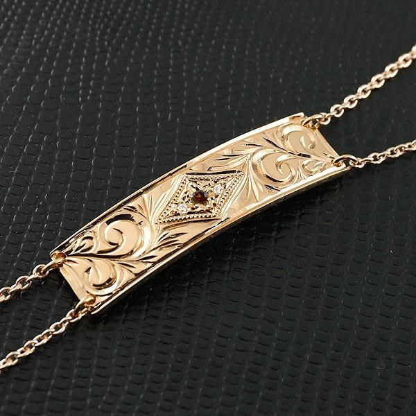 ハワイアンジュエリー メンズ ブレスレット プレート ガーネット ピンクゴールドk18 ダイヤモンド ミル打ち ダイヤ 18金 宝石 送料無料