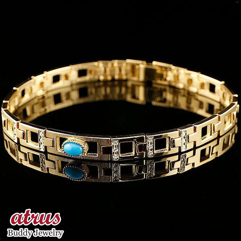 メンズ ブレスレット イエローゴールドk18 トルコ ターコイズ ダイヤモンド 幅広 地金 男性用 コントラッド 東京 CONTRAD TOKYO 18金 送料無料 父の日