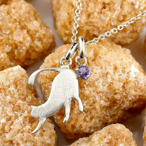 メンズ 猫 ネックレス トップ アメジスト 一粒 プラチナ ペンダント ネコ ねこ 2月誕生石 pt900 メンズ チェーン 人気 男性用 宝石 送料無料