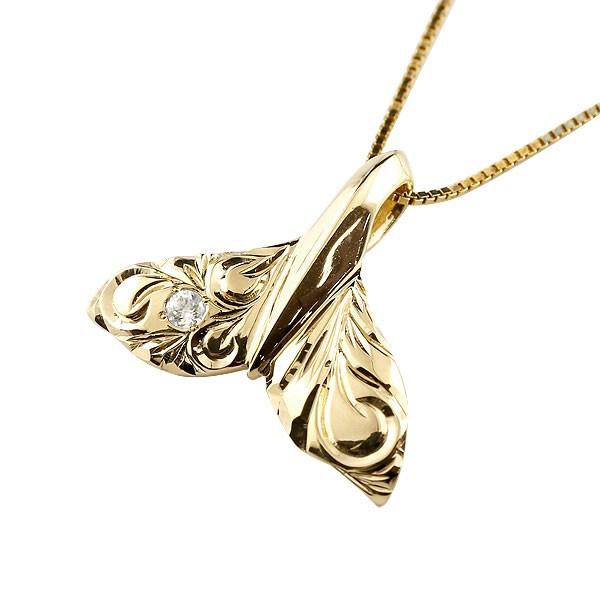 ハワイアンジュエリー メンズホエールテール クジラ 鯨 ダイヤモンド ネックレス イエローゴールド ペンダント ダイヤ 4月誕生石 k10 10金 人気 送料無料 父の日