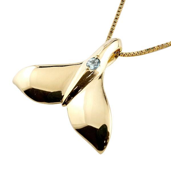 ハワイアンジュエリー メンズホエールテール クジラ 鯨 アクアマリン ネックレス イエローゴールド ペンダント 天然石 3月誕生石 k18 18金 人気 宝石