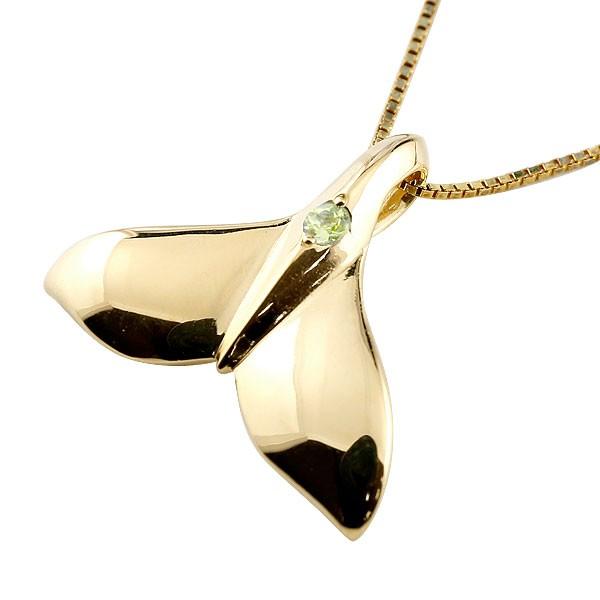 ハワイアンジュエリー メンズホエールテール クジラ 鯨 ペリドット ネックレス イエローゴールド ペンダント 天然石 8月誕生石 k10 10金 人気 宝石