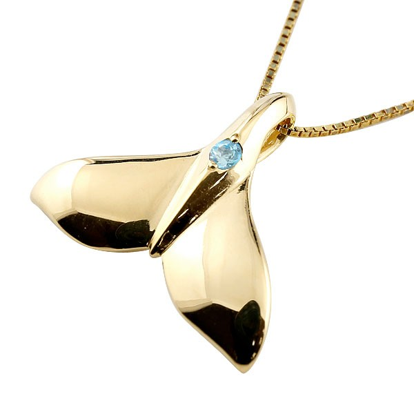 ハワイアンジュエリー メンズホエールテール クジラ 鯨 ブルートパーズ ネックレス イエローゴールド ペンダント 天然石 11月誕生石 k10 10金 人気 宝石