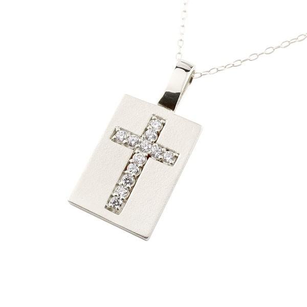 メンズ プレート クロス ネックレス ダイヤモンド ペンダント 十字架 シルバー チェーン 人気 4月誕生石 レディース 送料無料
