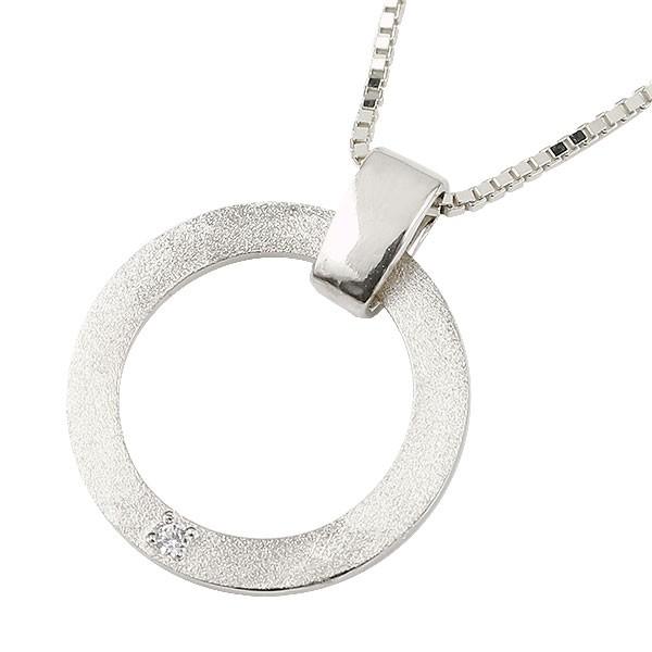 メンズネックレス ダイヤモンド ホワイトゴールドK18 リング ペンダント ネックレス 輪っか 18金 リングネックレス キーリングデザインネックレス 父の日