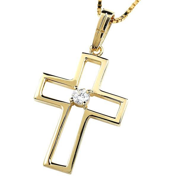 メンズ クロス ネックレス トップ イエローゴールドk10 ペンダント ダイヤモンド 一粒 10金 チェーン 十字架 人気 透かし つや消し マット仕上げ 送料無料