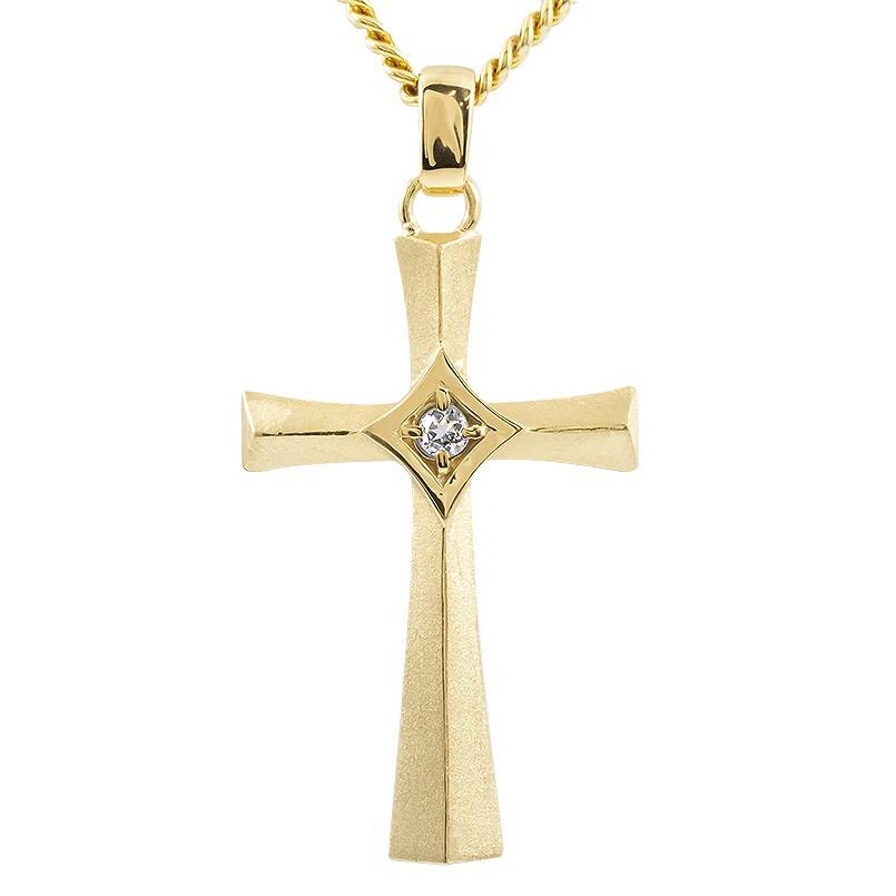 ゴールド ネックレス メンズ トップ 喜平用 ダイヤモンド クロス つや消し ペンダントトップ イエローゴールドk10 十字架 チェーン キヘイ 男性 送料無料 父の日
