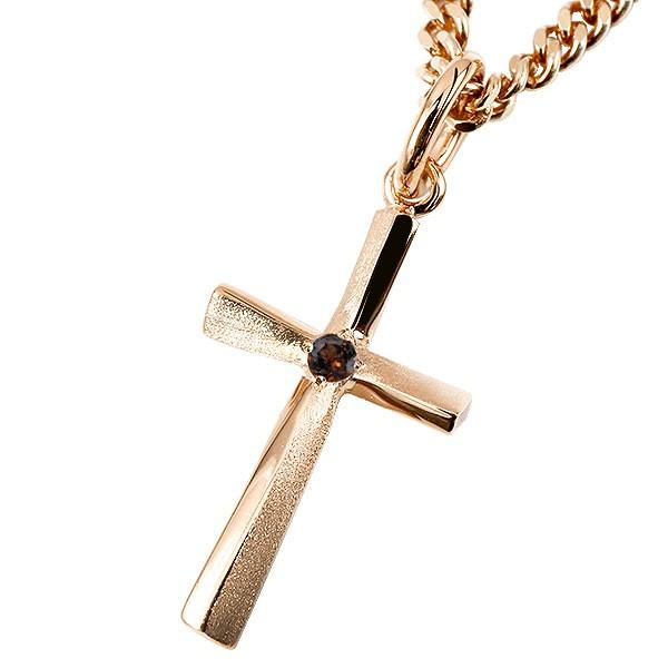 ネックレス メンズ 喜平用 キヘイ クロス ガーネット ピンクゴールドk10 ペンダント 十字架 一粒 10金 シンプル つや消し 男性用 キヘイチェーン 人気 父の日