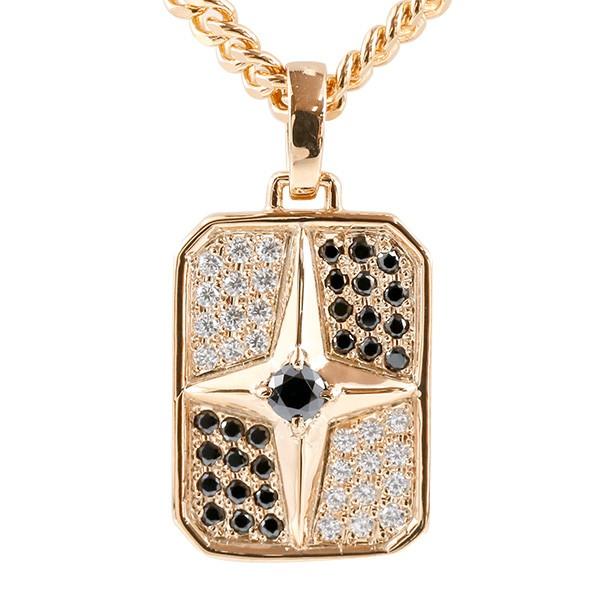 喜平用 メンズ ブラックキュービックジルコニア ネックレス ピンクゴールドk18 クロス シールド ペンダント 十字架 盾 18金 スター 星 男性用 キヘイチェーン