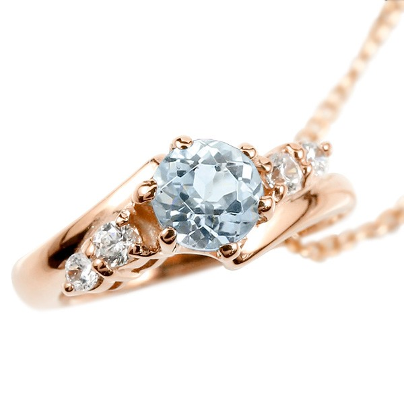 ネックレス メンズ アクアマリン ダイヤモンド ベビーリング ピンクゴールドk10 チェーン シンプル ダイヤ 人気 10金 プレゼント 3月誕生石 男性用 父の日
