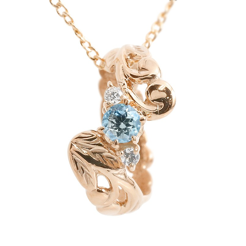 ハワイアンジュエリー ネックレス ブルートパーズ ダイヤモンド ベビーリング ピンクゴールドk10 チェーン ネックレス レディース 10金 プレゼント 女性