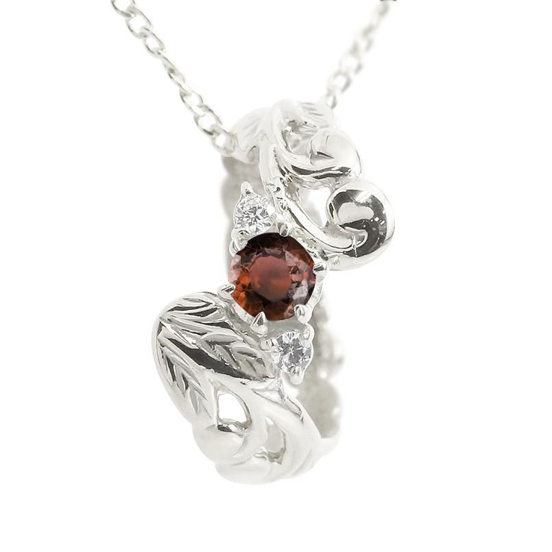 ハワイアンジュエリー ネックレス ガーネット ダイヤモンド ベビーリング ホワイトゴールドk18 チェーン ネックレス レディース 18金 プレゼント 女性 送料無料 母の日